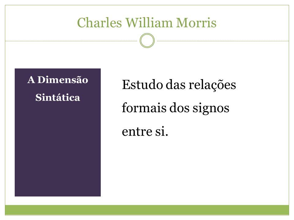Charles William Morris A Dimensão Sintática Estudo das relações formais dos signos entre si.