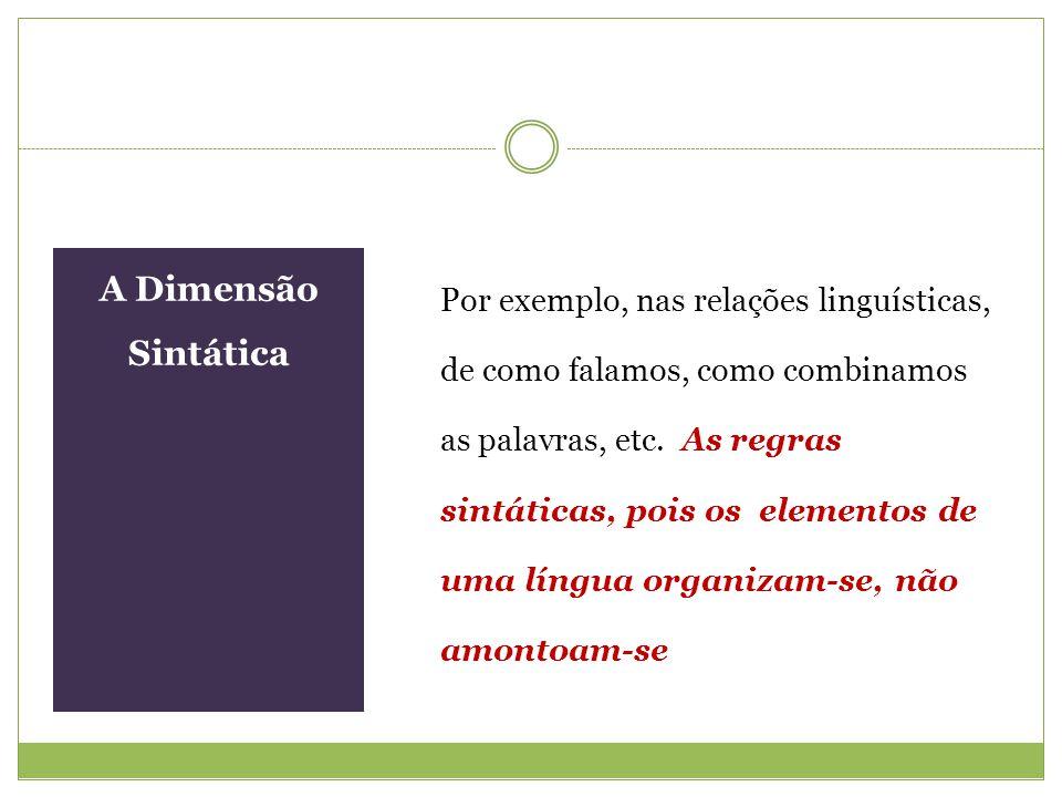 A Dimensão Sintática Por exemplo, nas relações linguísticas, de como falamos, como combinamos as palavras, etc. As regras sintáticas, pois os elemento