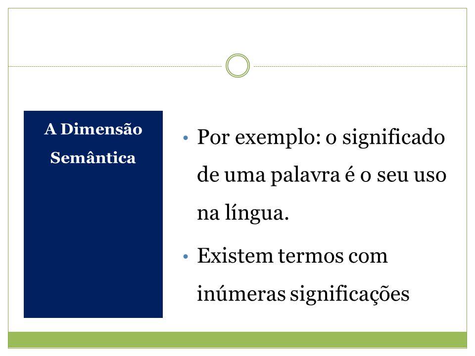 A Dimensão Semântica Por exemplo: o significado de uma palavra é o seu uso na língua. Existem termos com inúmeras significações