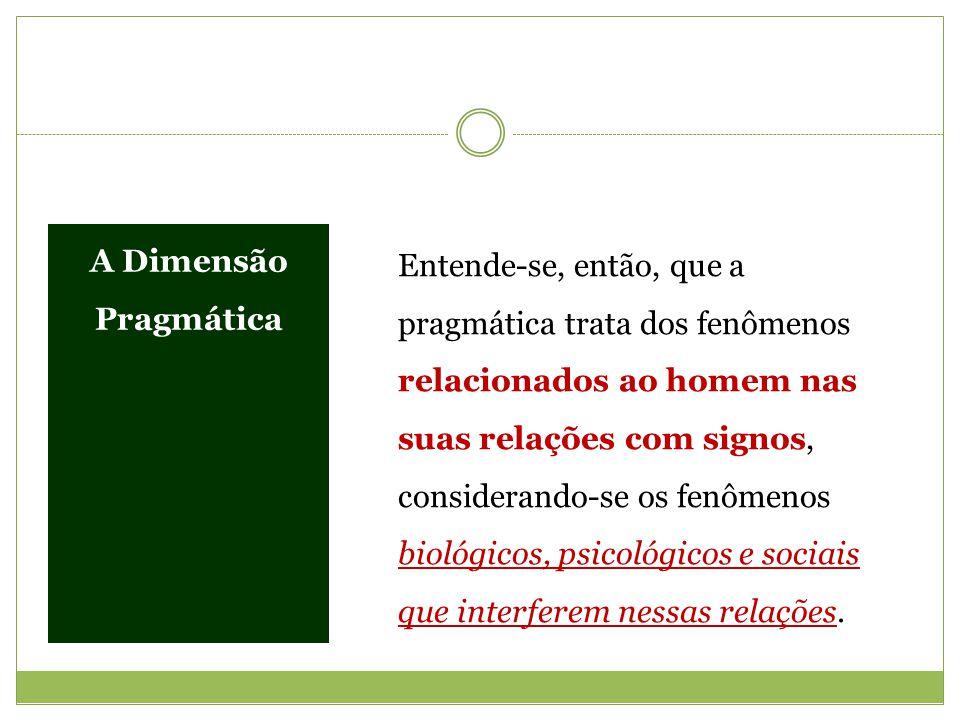 A Dimensão Pragmática Entende-se, então, que a pragmática trata dos fenômenos relacionados ao homem nas suas relações com signos, considerando-se os f