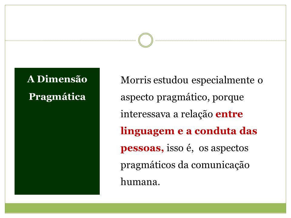 A Dimensão Pragmática Morris estudou especialmente o aspecto pragmático, porque interessava a relação entre linguagem e a conduta das pessoas, isso é,