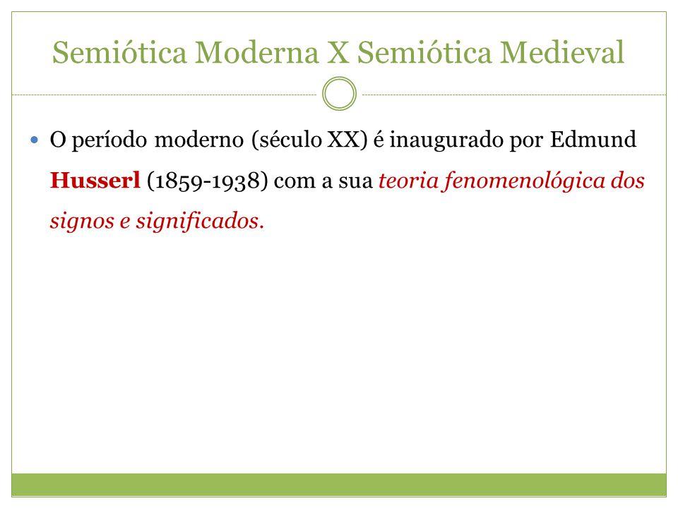 Semiótica Moderna X Semiótica Medieval O período moderno (século XX) é inaugurado por Edmund Husserl (1859-1938) com a sua teoria fenomenológica dos s