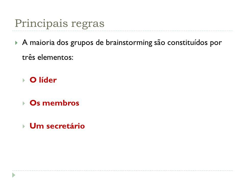 Principais regras A maioria dos grupos de brainstorming são constituídos por três elementos: O líder Os membros Um secretário