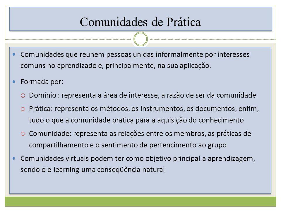 Comunidades de Prática C omunidades que reunem pessoas unidas informalmente por interesses comuns no aprendizado e, principalmente, na sua aplicação.