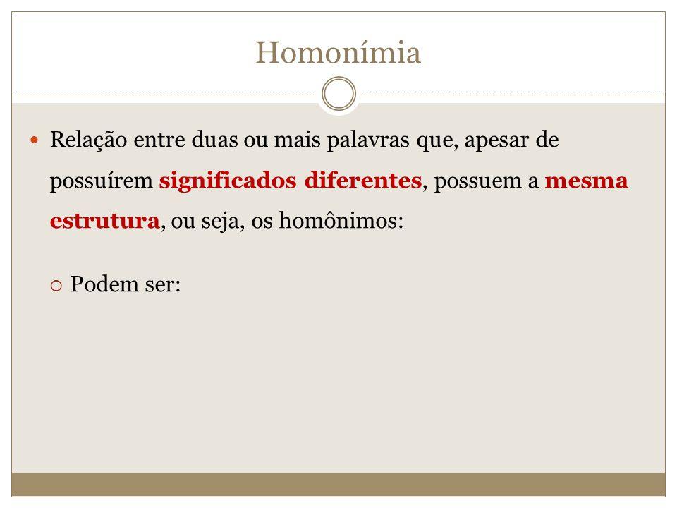 Homonímia Relação entre duas ou mais palavras que, apesar de possuírem significados diferentes, possuem a mesma estrutura, ou seja, os homônimos: Pode