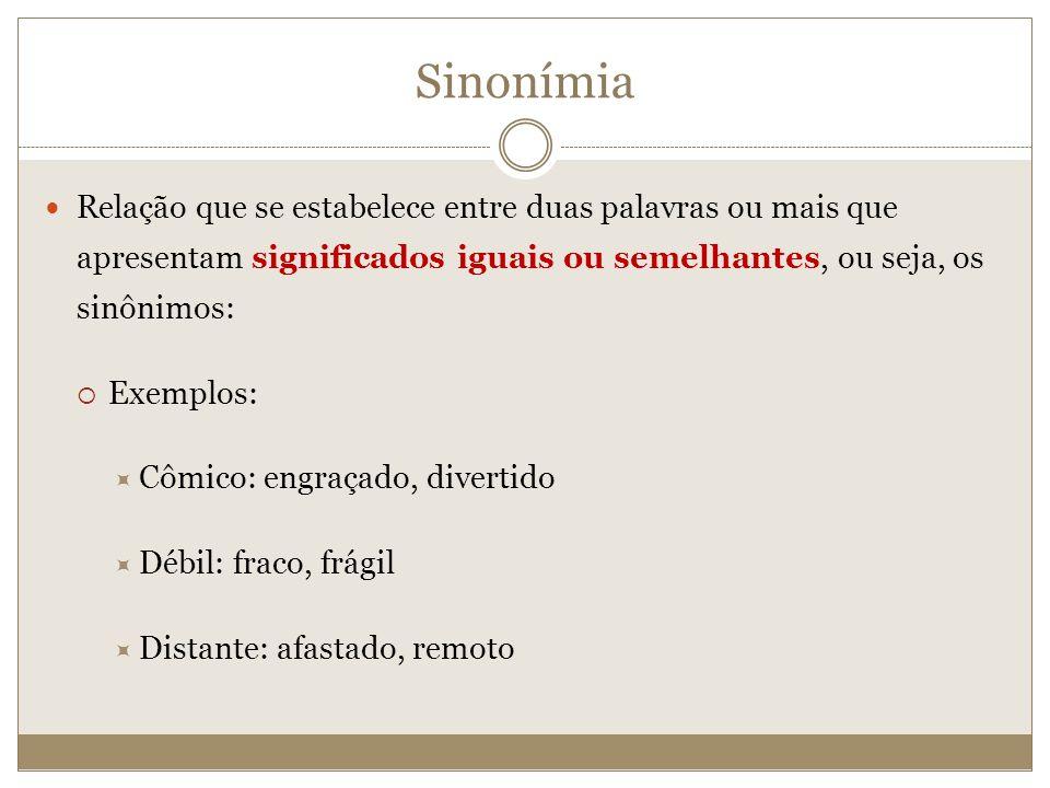 Sinonímia Relação que se estabelece entre duas palavras ou mais que apresentam significados iguais ou semelhantes, ou seja, os sinônimos: Exemplos: Cô