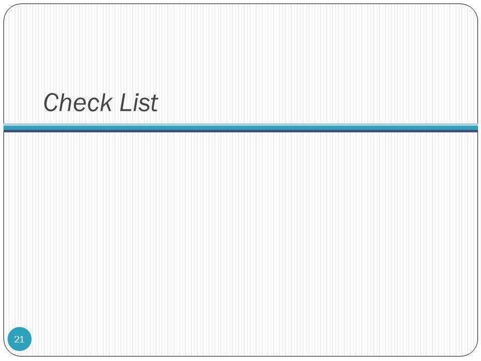 Check List 21