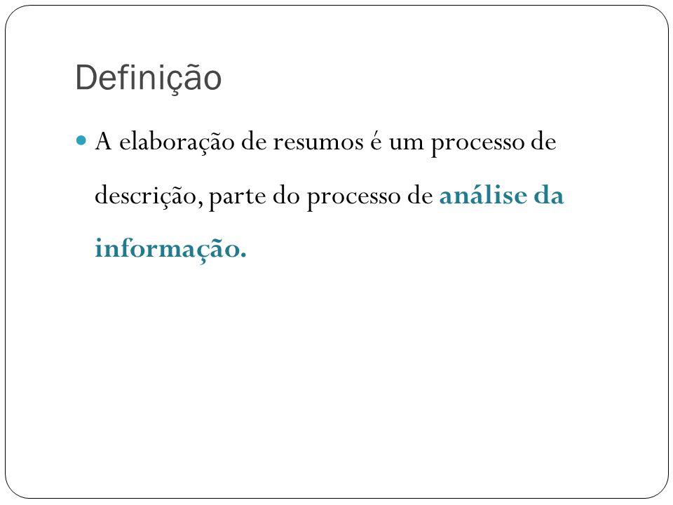Definição A elaboração de resumos é um processo de descrição, parte do processo de análise da informação.