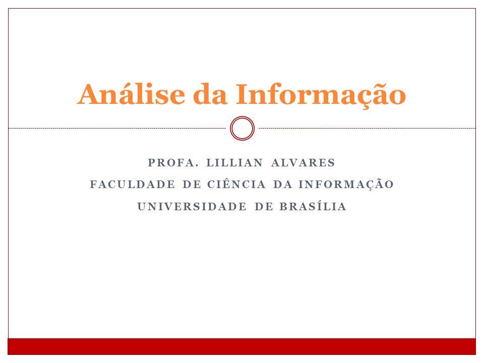 PROFA. LILLIAN ALVARES FACULDADE DE CIÊNCIA DA INFORMAÇÃO UNIVERSIDADE DE BRASÍLIA Análise da Informação