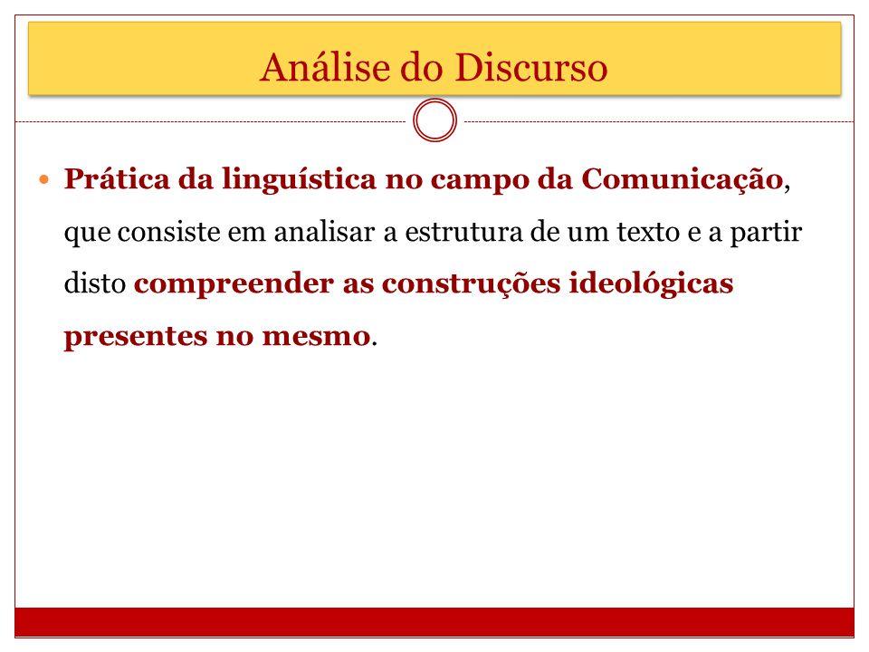 Análise do Discurso Prática da linguística no campo da Comunicação, que consiste em analisar a estrutura de um texto e a partir disto compreender as c