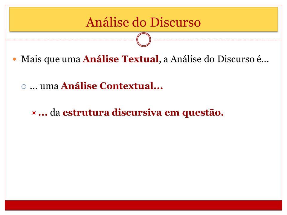 Análise do Discurso Mais que uma Análise Textual, a Análise do Discurso é...... uma Análise Contextual...... da estrutura discursiva em questão.
