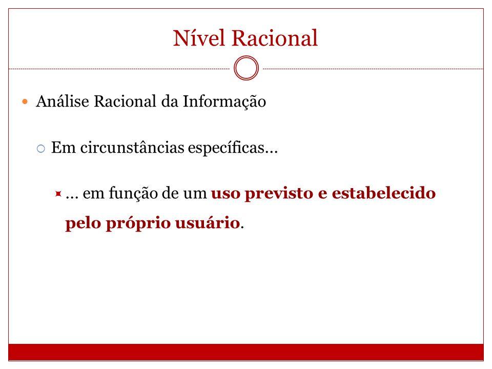 Nível Racional Análise Racional da Informação Em circunstâncias específicas...... em função de um uso previsto e estabelecido pelo próprio usuário.