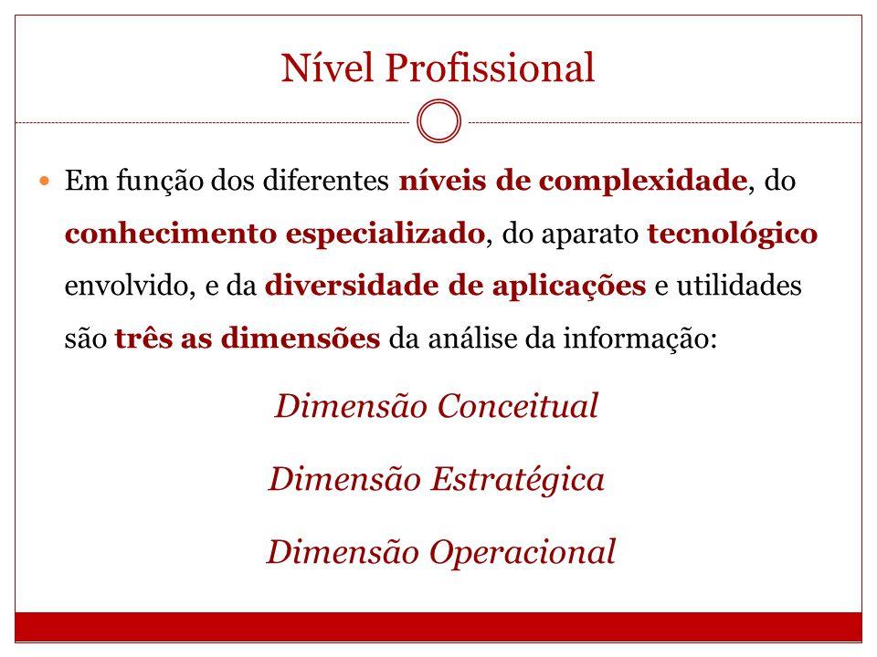 Nível Profissional Em função dos diferentes níveis de complexidade, do conhecimento especializado, do aparato tecnológico envolvido, e da diversidade