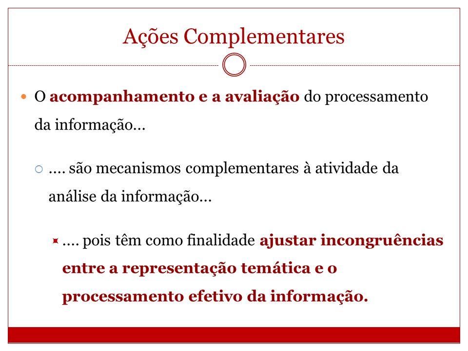 Ações Complementares O acompanhamento pode ser considerado como uma espécie de controle de qualidade da análise, pois é um mecanismo fundamental para o tratamento da informação com vistas a recuperação pelos usuários.