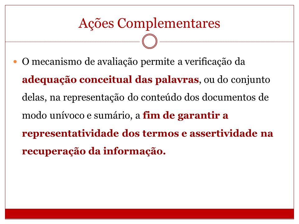 Ações Complementares O mecanismo de avaliação permite a verificação da adequação conceitual das palavras, ou do conjunto delas, na representação do co