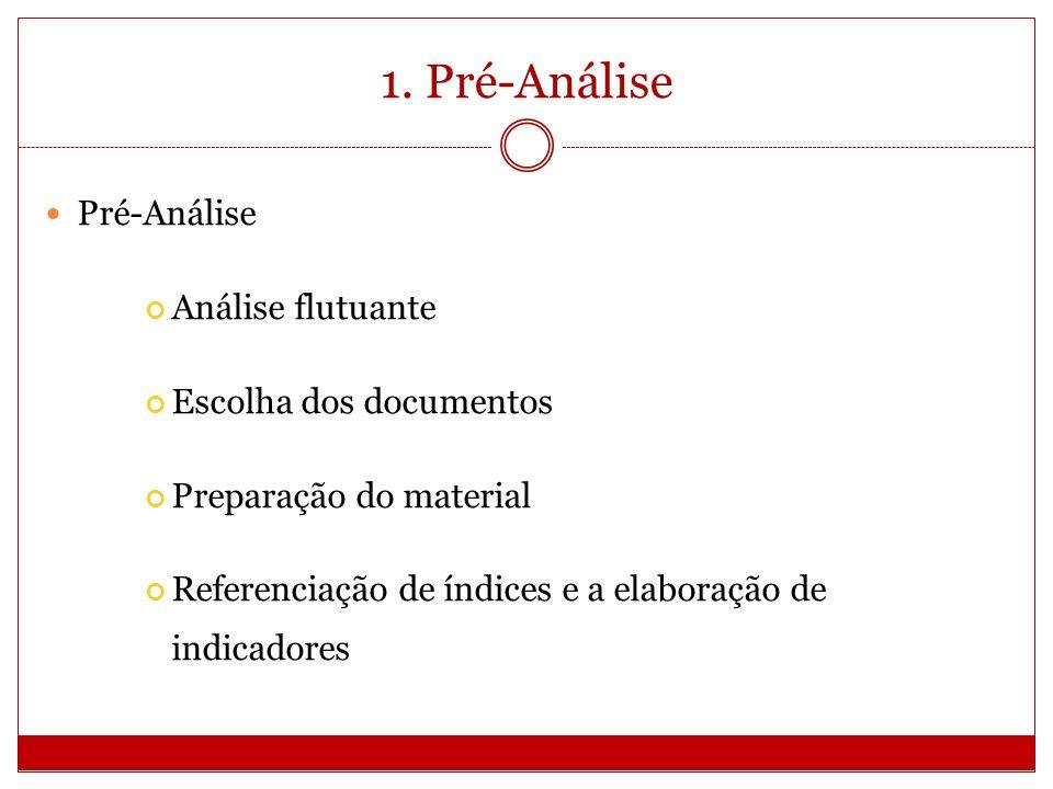 1. Pré-Análise Pré-Análise Análise flutuante Escolha dos documentos Preparação do material Referenciação de índices e a elaboração de indicadores