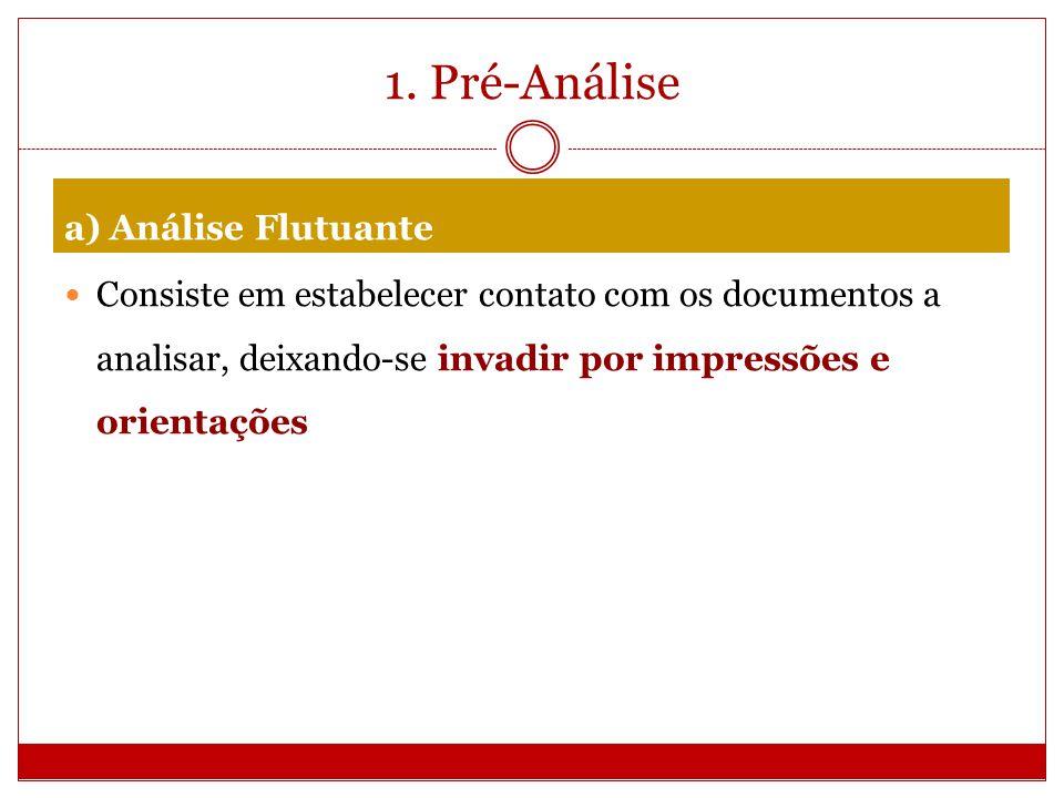 1. Pré-Análise a) Análise Flutuante Consiste em estabelecer contato com os documentos a analisar, deixando-se invadir por impressões e orientações