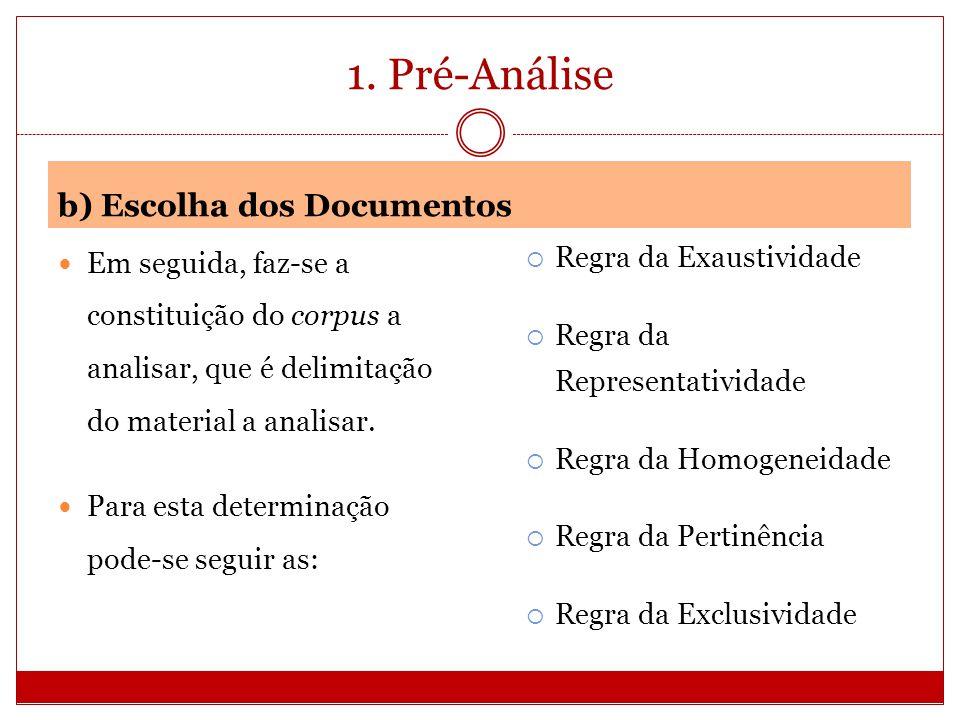 1. Pré-Análise b) Escolha dos Documentos Em seguida, faz-se a constituição do corpus a analisar, que é delimitação do material a analisar. Para esta d