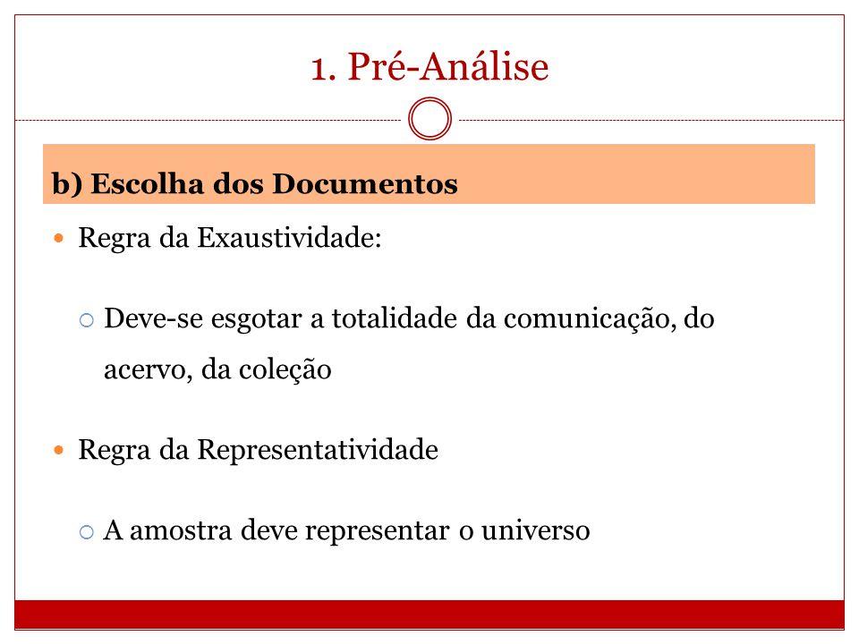 1. Pré-Análise b) Escolha dos Documentos Regra da Exaustividade: Deve-se esgotar a totalidade da comunicação, do acervo, da coleção Regra da Represent