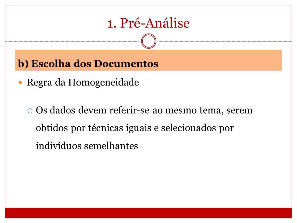 1. Pré-Análise b) Escolha dos Documentos Regra da Homogeneidade Os dados devem referir-se ao mesmo tema, serem obtidos por técnicas iguais e seleciona