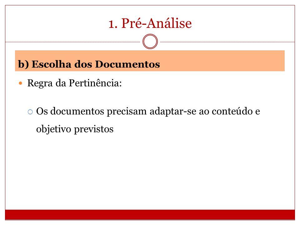 1. Pré-Análise b) Escolha dos Documentos Regra da Pertinência: Os documentos precisam adaptar-se ao conteúdo e objetivo previstos