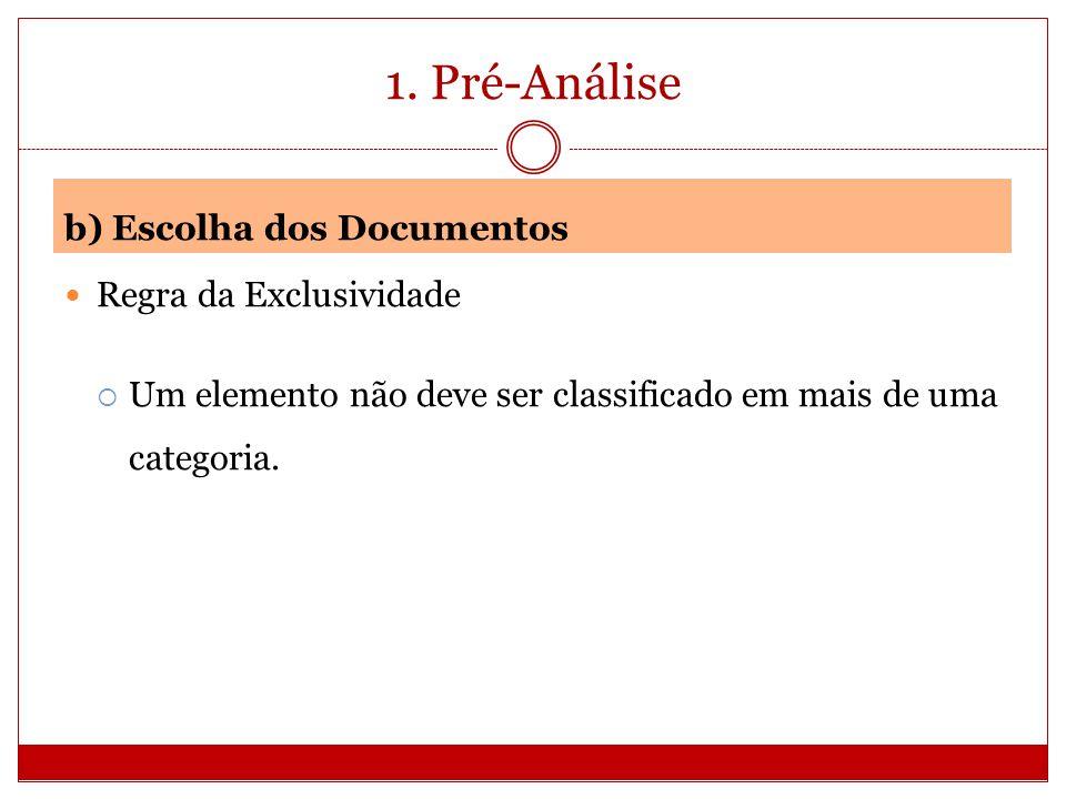 1. Pré-Análise b) Escolha dos Documentos Regra da Exclusividade Um elemento não deve ser classificado em mais de uma categoria.