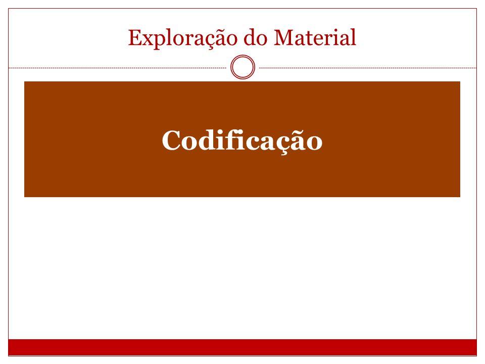 Exploração do Material Codificação A codificação corresponde a identificação......