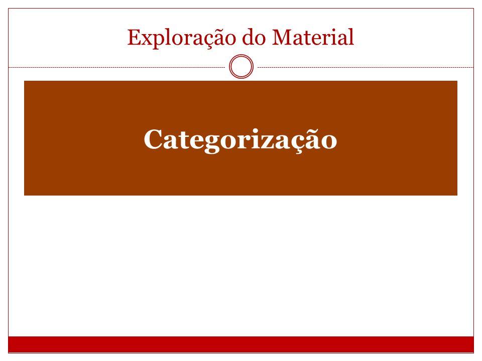 Exploração do Material Categorização São rubricas ou classes que agrupam um grupo de elementos.