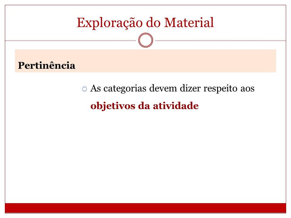 Exploração do Material As categorias devem dizer respeito aos objetivos da atividade Pertinência