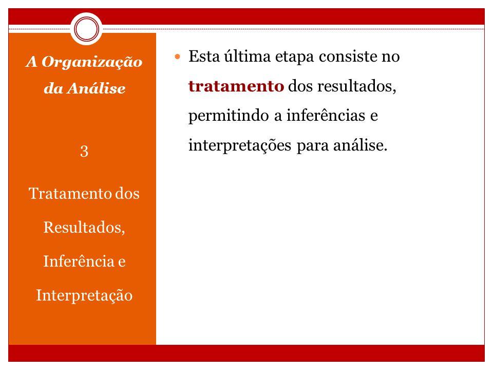 A Organização da Análise 3 Tratamento dos Resultados, Inferência e Interpretação Esta última etapa consiste no tratamento dos resultados, permitindo a