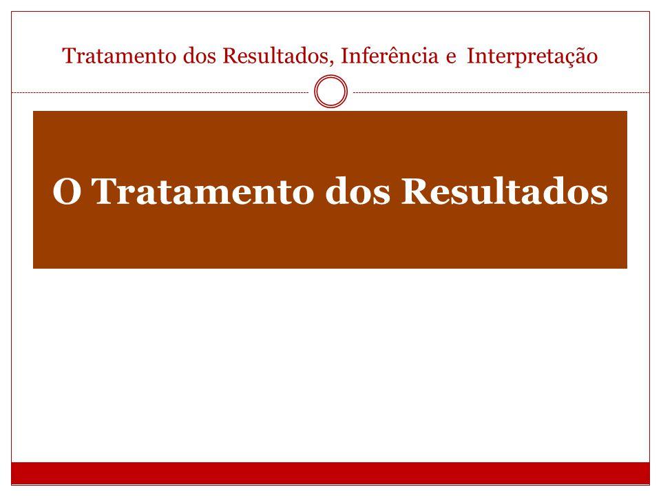 Tratamento dos Resultados, Inferência e Interpretação Os Resultados Imediatos 2 Grupos Principais: Análise Estatística Análise Automática da Informação