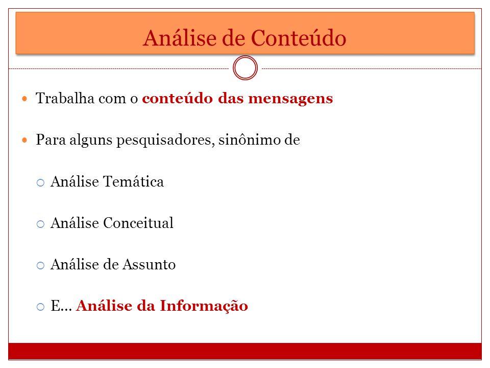 Análise de Conteúdo Trabalha com o conteúdo das mensagens Para alguns pesquisadores, sinônimo de Análise Temática Análise Conceitual Análise de Assunt
