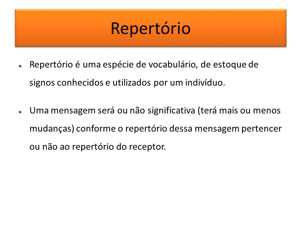 Repertório Repertório é uma espécie de vocabulário, de estoque de signos conhecidos e utilizados por um indivíduo. Uma mensagem será ou não significat