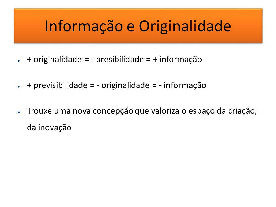 Informação e Originalidade + originalidade = - presibilidade = + informação + previsibilidade = - originalidade = - informação Trouxe uma nova concepç