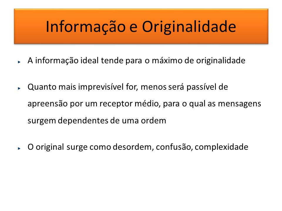 Informação e Originalidade A informação ideal tende para o máximo de originalidade Quanto mais imprevisível for, menos será passível de apreensão por