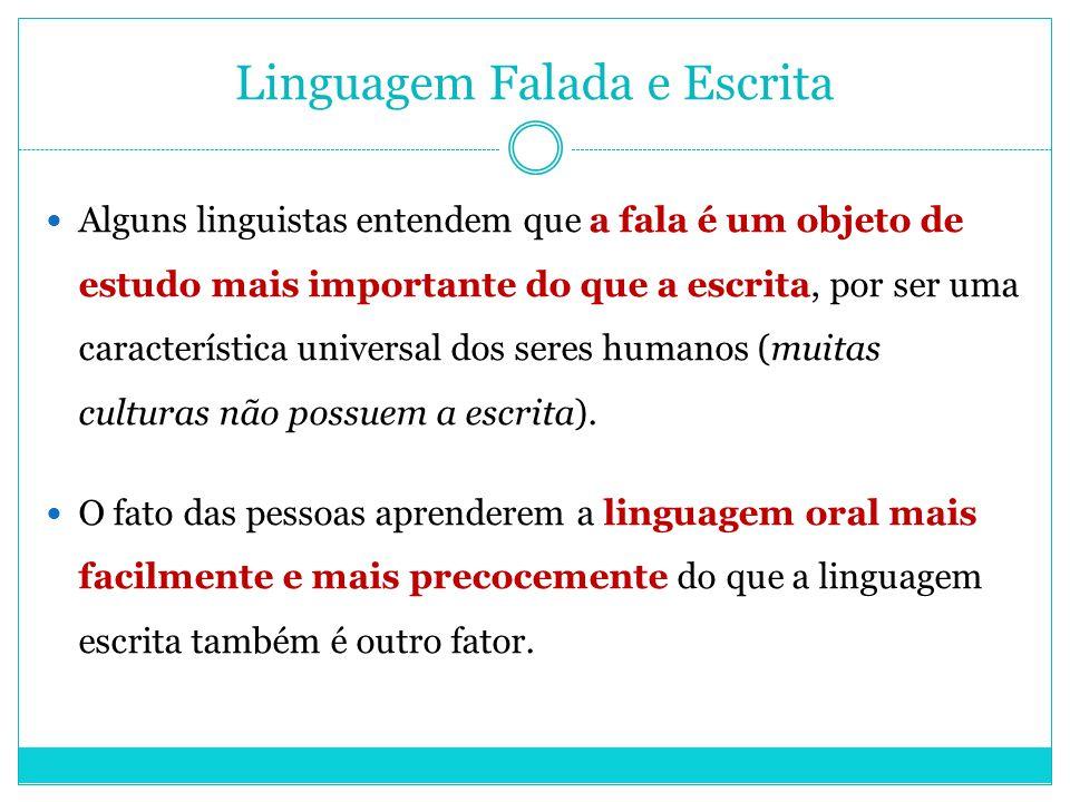 Linguagem Falada e Escrita Alguns linguistas entendem que a fala é um objeto de estudo mais importante do que a escrita, por ser uma característica un