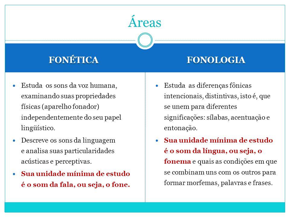 FONÉTICA FONOLOGIA Estuda os sons da voz humana, examinando suas propriedades físicas (aparelho fonador) independentemente do seu papel lingüístico. D