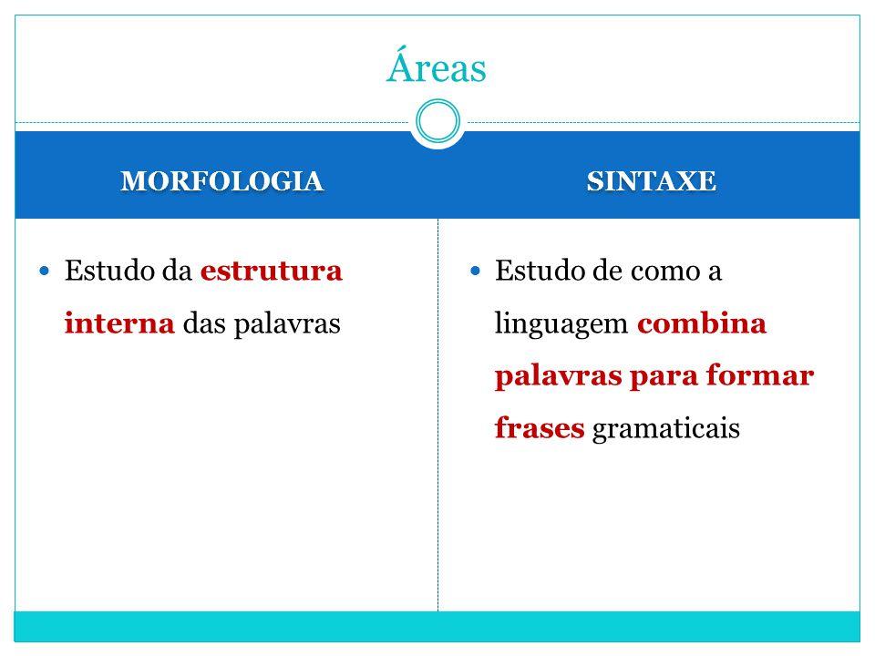 MORFOLOGIA SINTAXE Estudo da estrutura interna das palavras Estudo de como a linguagem combina palavras para formar frases gramaticais Áreas