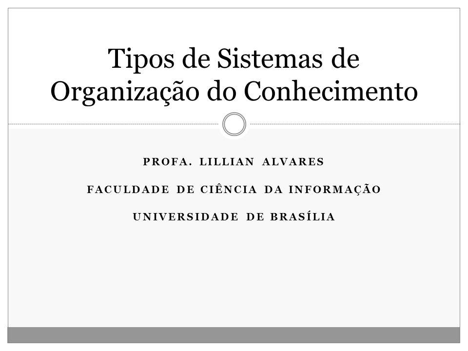 PROFA. LILLIAN ALVARES FACULDADE DE CIÊNCIA DA INFORMAÇÃO UNIVERSIDADE DE BRASÍLIA Tipos de Sistemas de Organização do Conhecimento