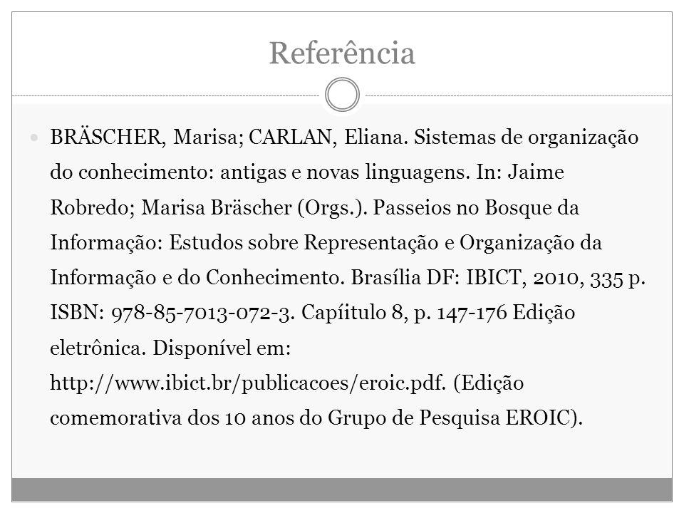 Referência BRÄSCHER, Marisa; CARLAN, Eliana. Sistemas de organização do conhecimento: antigas e novas linguagens. In: Jaime Robredo; Marisa Bräscher (