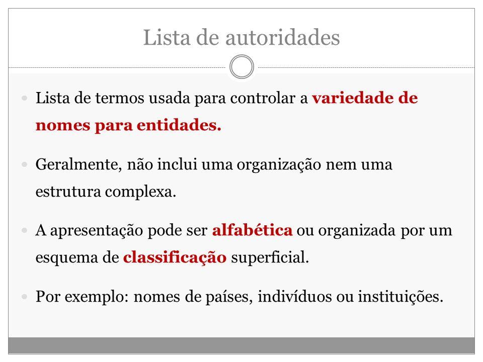 Lista de autoridades Lista de termos usada para controlar a variedade de nomes para entidades. Geralmente, não inclui uma organização nem uma estrutur