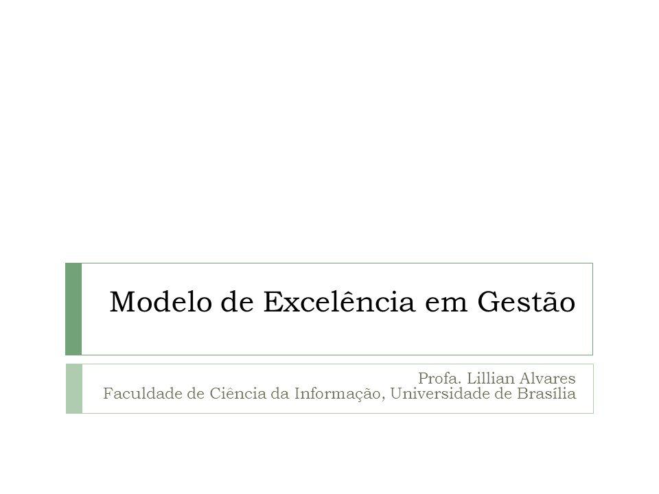 Modelo de Excelência em Gestão Profa. Lillian Alvares Faculdade de Ciência da Informação, Universidade de Brasília