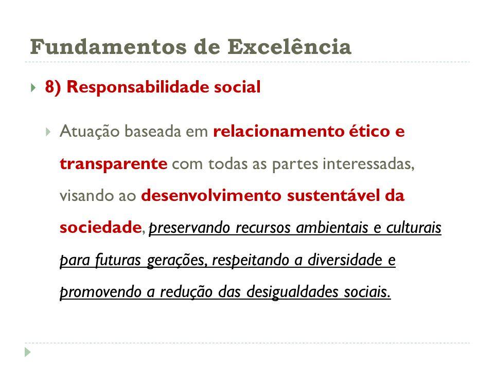 Fundamentos de Excelência 8) Responsabilidade social Atuação baseada em relacionamento ético e transparente com todas as partes interessadas, visando