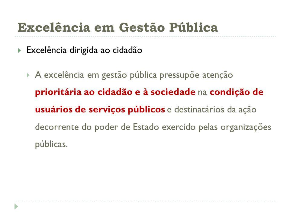 Excelência dirigida ao cidadão A excelência em gestão pública pressupõe atenção prioritária ao cidadão e à sociedade na condição de usuários de serviç