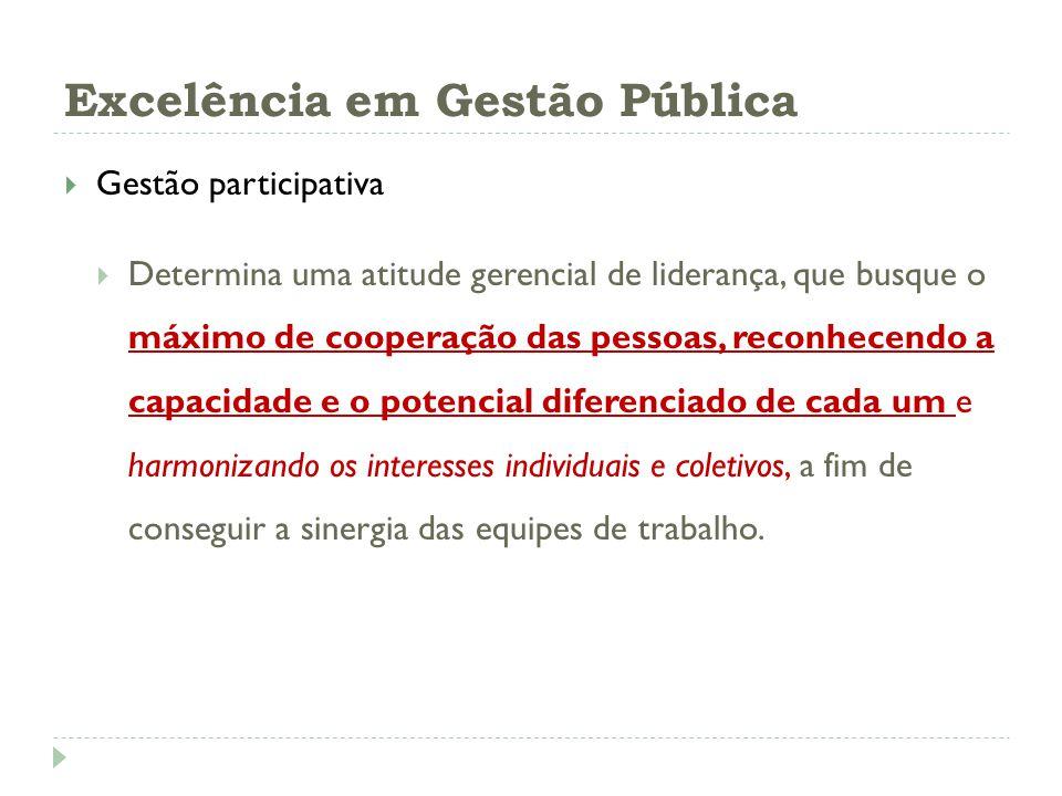 Excelência em Gestão Pública Gestão participativa Determina uma atitude gerencial de liderança, que busque o máximo de cooperação das pessoas, reconhe