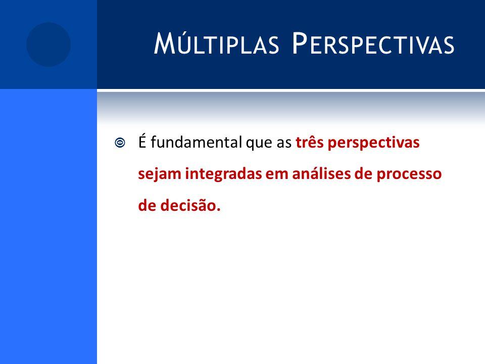 M ÚLTIPLAS P ERSPECTIVAS É fundamental que as três perspectivas sejam integradas em análises de processo de decisão.