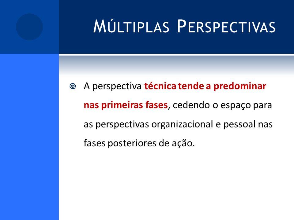 M ÚLTIPLAS P ERSPECTIVAS A perspectiva técnica tende a predominar nas primeiras fases, cedendo o espaço para as perspectivas organizacional e pessoal nas fases posteriores de ação.