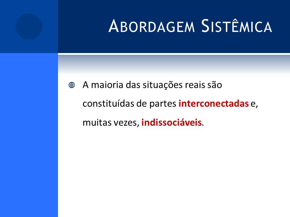 A BORDAGEM S ISTÊMICA A maioria das situações reais são constituídas de partes interconectadas e, muitas vezes, indissociáveis.