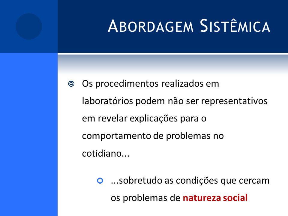 A BORDAGEM S ISTÊMICA Os procedimentos realizados em laboratórios podem não ser representativos em revelar explicações para o comportamento de problemas no cotidiano......sobretudo as condições que cercam os problemas de natureza social