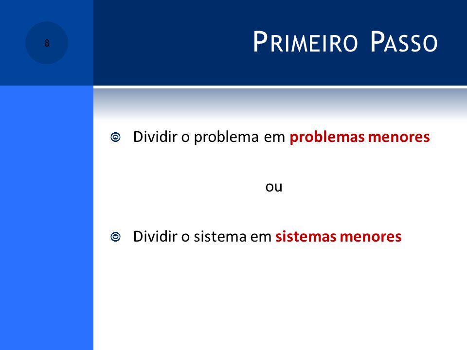 P RIMEIRO P ASSO Dividir o problema em problemas menores ou Dividir o sistema em sistemas menores 8